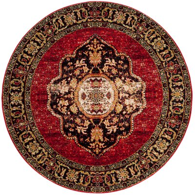Fitzpatrick Red Area Rug Rug Size: Round 5 x 5