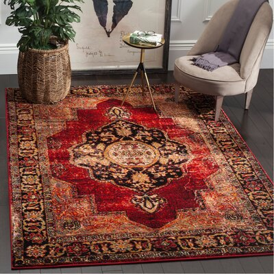 Fitzpatrick Red Area Rug Rug Size: Square 67