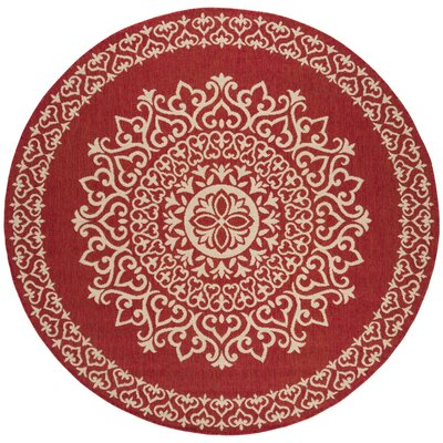 Gipson Red/Cream Area Rug Rug Size: Round 67