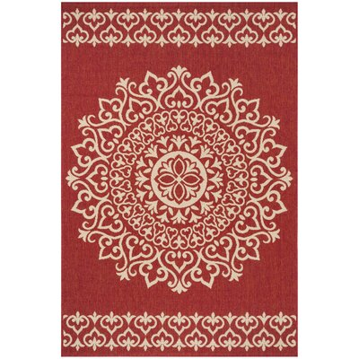 Gipson Red/Cream Area Rug Rug Size: Rectangle 8 x 10