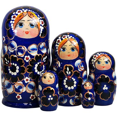 Meisner 5 Piece Nested Doll Set Color: Blue 403841FDEA3F43FC9A1C112174BFD741