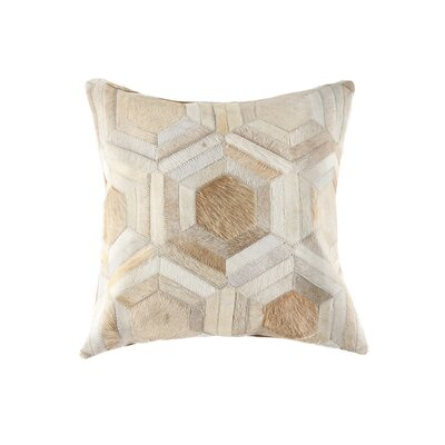 Graham Hand Woven Cowhide Throw Pillow Color: Natural