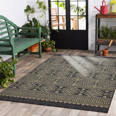 Shep Reversible Black/Brown Indoor/Outdoor Area Rug Rug Size: 5 x 8