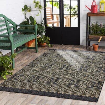 Shep Reversible Black/Brown Indoor/Outdoor Area Rug Rug Size: 5 x 8