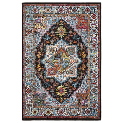Amot Modern Oriental Black/Blue/Yellow Area Rug Rug Size: Rectangle 51 x 75