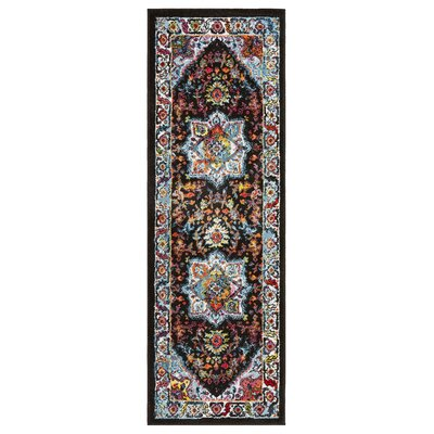Amot Modern Oriental Black/Blue/Yellow Area Rug Rug Size: Runner 23 x 7