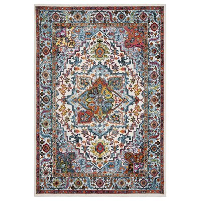 Amot Modern Oriental Cream/Blue/Yellow Area Rug Rug Size: Rectangle 7'9