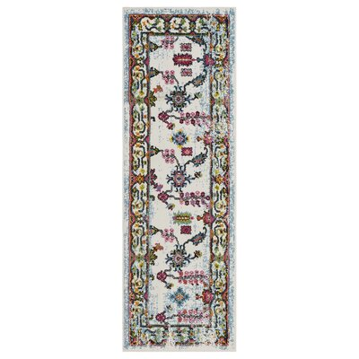 Amot Bright Botanical Cream/Swirl Red/Blue Area Rug Rug Size: Runner 2'3