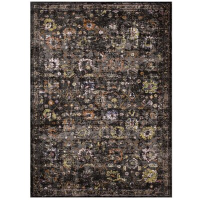 Heitzman Black/Gray Area Rug Rug Size: Rectangle 53 x 76