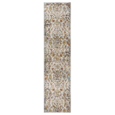 Amory Old World Victorian Gray Area Rug Rug Size: Runner 23 x 89