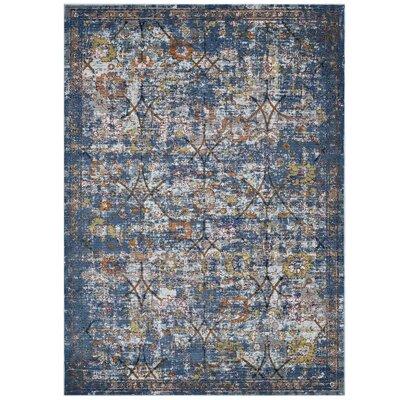 Heitzman Blue/Orange Area Rug Rug Size: Rectangle 53 x 76