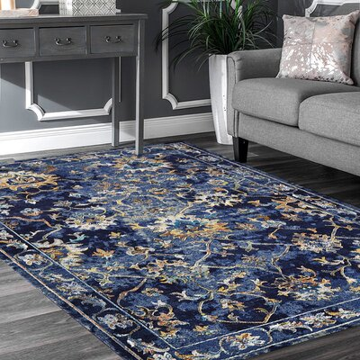 Amory Contemporary Jacobean Blue Area Rug Rug Size: Rectangle 89 x 119