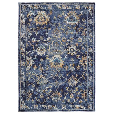 Amory Contemporary Jacobean Blue Area Rug Rug Size: Rectangle 5 x 8