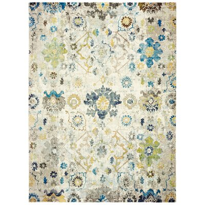 Amory Distressed Botanical Cream/Gray/Blue Area Rug Rug Size: Rectangle 4 x 6