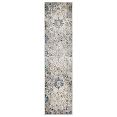 Amory Distressed Botanical Cream/Gray/Blue Area Rug Rug Size: Runner 23 x 89