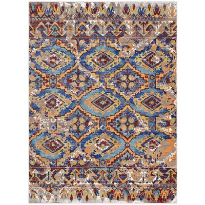 Fetters Southwestern Aztec Red/Blue Area Rug Rug Size: Rectangle 5 x 8
