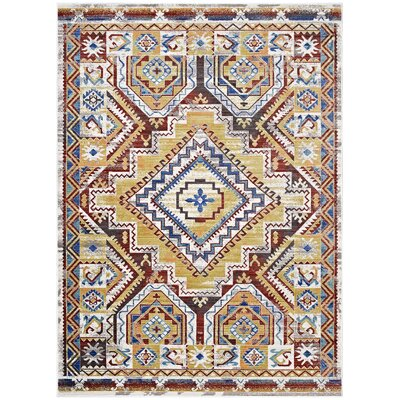 Fetzer Distressed Southwestern Aztec Yellow/Beige Area Rug Rug Size: Rectangle 4 x 6