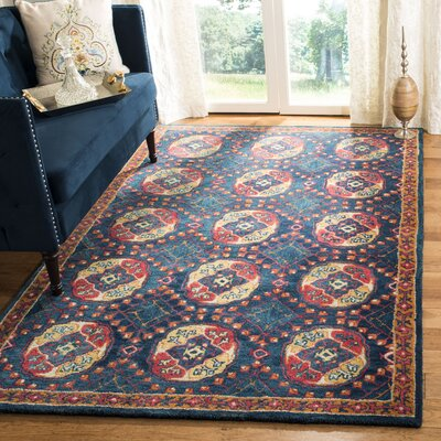 Iorio Hand-Tufted Wool Navy/Red Area Rug Rug Size: Rectangle 5 x 8