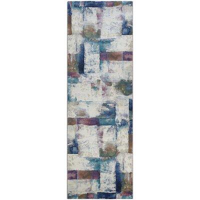 Gene Bone Blue/Beige Area Rug Rug Size: Runner 27 x 71