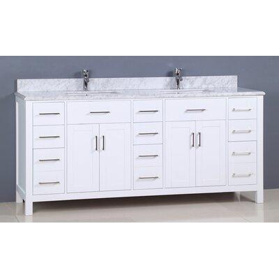 Prestwick Modern 72 Double Bathroom Vanity Set Base Finish: White