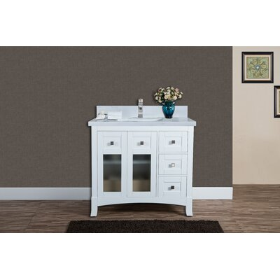 Alexandria 37 Single Bathroom Vanity Set Top Finish: Carrera Quartz