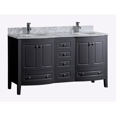Porto 72 Double Bathroom Vanity Set Base Finish: Black