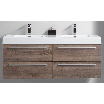 59 Double Bathroom Vanity Set Base Finish: Soft Oak