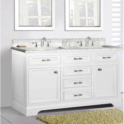 Harkness Modern 60 Double Bathroom Vanity Set Top Finish: Carrera Quartz