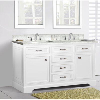 Harkness 72 Double Bathroom Vanity Set Top Finish: Carrera Marble