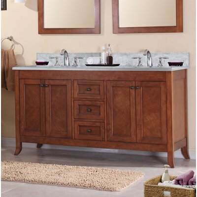Mckenny 60 Double Bathroom Vanity Set Top Finish: Carrera Marble