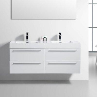 59 Double Bathroom Vanity Set Base Finish: White