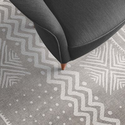 Inspired Gray Area Rug Rug Size: Rectangle 8 x 10