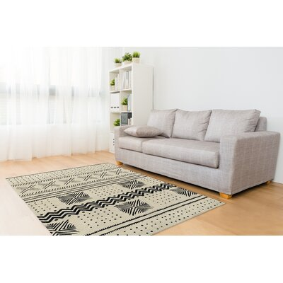 Geometric Ivory/Black Area Rug Rug Size: Rectangle 8 x 10