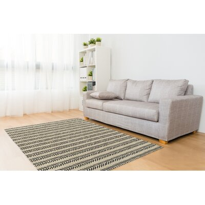 Inspired Ivory/Black Area Rug Rug Size: Rectangle 5 x 7