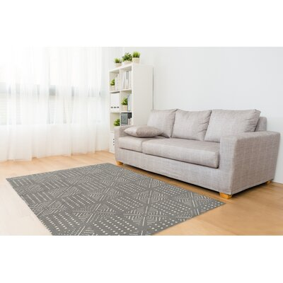 Geometric Gray/White Area Rug Rug Size: Rectangle 3 x 5