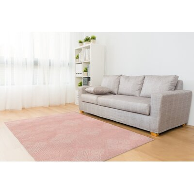 Blush/White Area Rug Rug Size: Rectangle 5 x 7