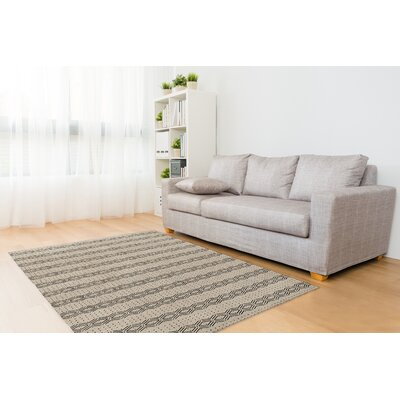 Cream/Black Area Rug Rug Size: Rectangle 8 x 10