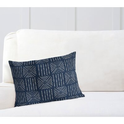 Geometric Lumbar Pillow Color: Navy, Size: 18 H x 24 W