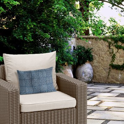 Outdoor Geometric Zipper Lumbar Pillow Color: Blue