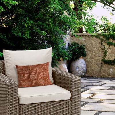 Outdoor Geometric Zipper Lumbar Pillow Color: Rust