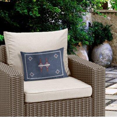 Outdoor Geometric Zipper Rectangular Lumbar Pillow with Double Sided Print