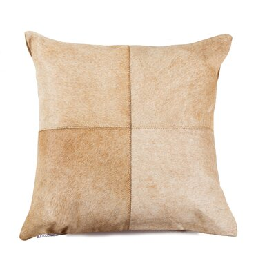 Graham Leather Throw Pillow Color: Tan/White