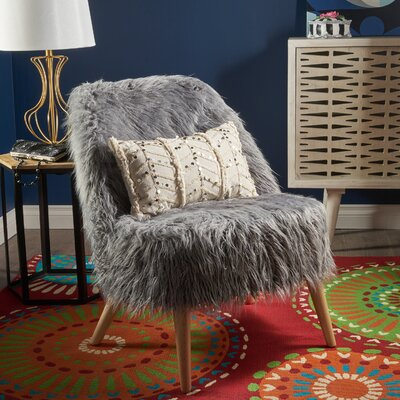 Buterbaugh Fur Accent Side Chair Upholstery: Gray, Finish: Beige