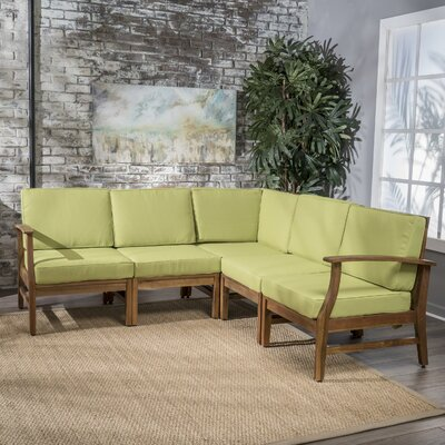Butler Indoor Sectional with Cushion Upholstery: Green
