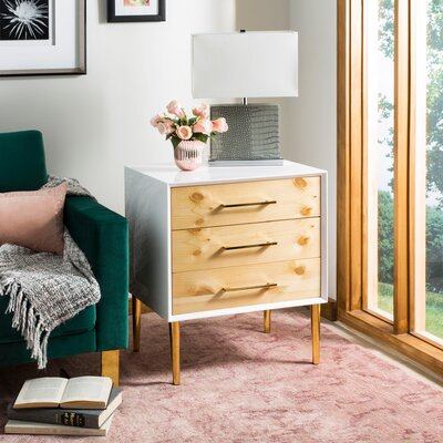 Coral Sea 3 Drawer Beetlewood End Table with Storage