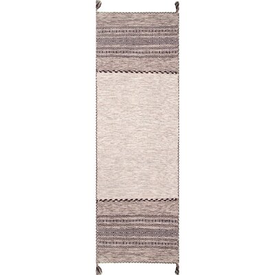 Aleshire Hand Loomed Cotton Light Beige Area Rug Rug Size: Runner 26 x 8