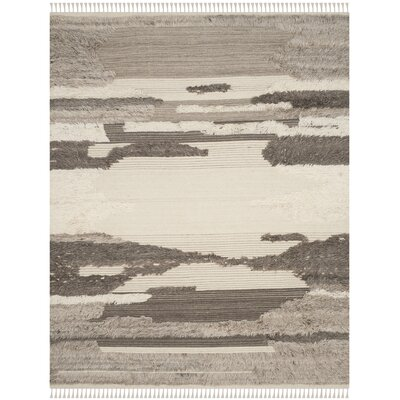 Lurdes Hand-Knotted Ivory/Gray Area Rug Rug Size: Rectangle 8 x 10