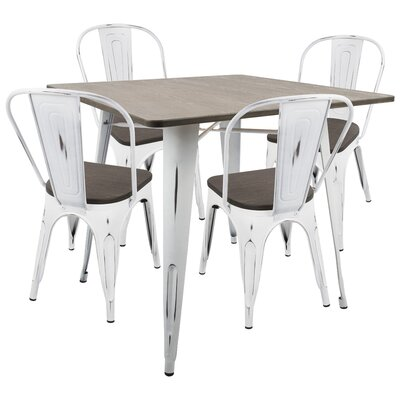 Claremont 5 Piece Dining Set Wood Finish: Espresso, Metal Finish: Vintage White
