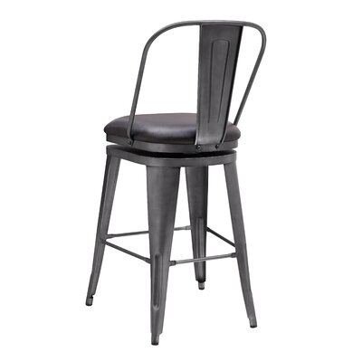 Hardev Metal Framed Swivel Bar Stool Color: Graphite, Upholstery: Charcoal