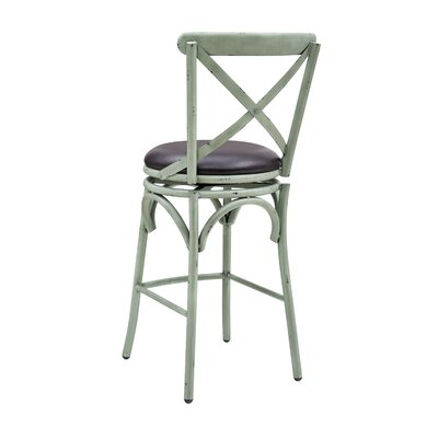 Hardev Swivel Bar Stool Color: Green